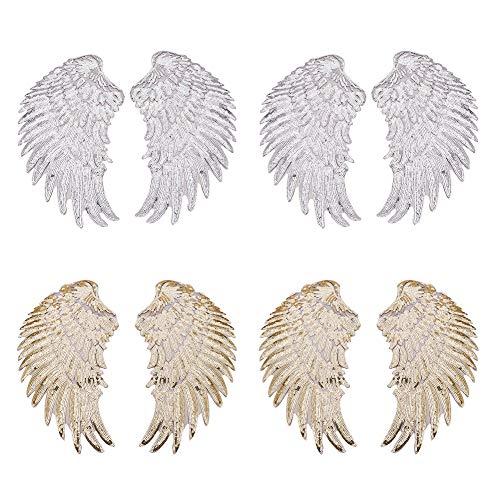 PandaHall Elite 4 Paare Stickerei Stoff Eisen/Aufnähen Patches Aufkleber Flügel Form zum Nähen oder zum Aufbügeln für T-Shirt Jeans Kleidung Taschen