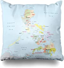 NOWCustom Throw Pillow Cover Mindanao Philippines Administrative Map Islands Manila Republic Zippered Pillowcase Square Size 18 x 18 Inches Home Decor Cushion Case