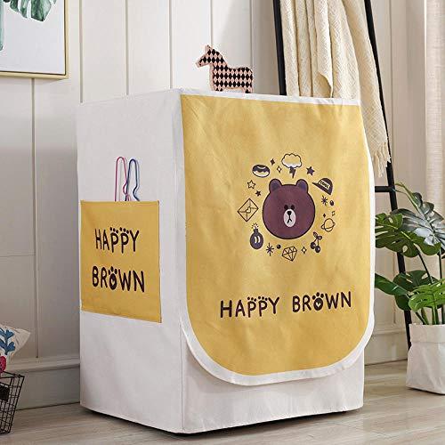JRTILES wasmachine, beschermhoes, waterdicht, van stof, ritssluiting, bescherming, geschikt voor frontlader, wasdroger en wasmachine Happy Brown, 60 x 60 x 83 cm