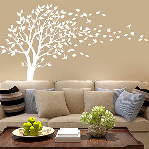 Großer Baum weht im Wind, Wandaufkleber, Vinyl, für Kinderzimmer, Teenager, Mädchen, Jungen, Wandaufkleber, Wandaufkleber, Kinderzimmerdekoration, Weiß