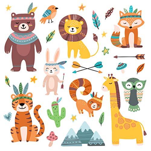 EmmiJules Wandtattoo süße Indianer für das Kinderzimmer - Made in Germany - Junge Mädchen Kinder Baby Deko Tiere Bär Vogel Hase Giraffe Eule Wandaufkleber Wandsticker (klein)