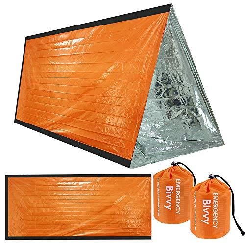 Nabance - Juego de 2 mantas de supervivencia reutilizables para camping, al aire libre y resistente al agua, supervivencia bivy, material impermeable, senderismo, manta térmica