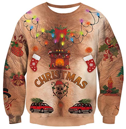 Unisex Ugly Christmas Sweater 3D Printed Cute Snowmen Car Socks Bell Colorful Light Decoration Patterns Chest Hair Outfits Fashion Crewneck Long Sleeve Pullover Sweatshirt for 80s 90s Women Men S