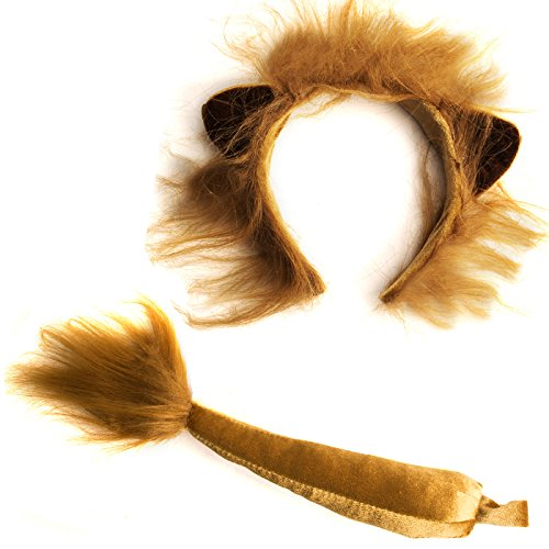 Funny Party Hats Lion Ears and Tail Set - Lion Costume - Ears Headband - Animal Headbands with Ears Brown