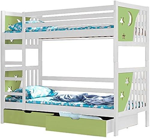 Kinderbett   Etagenbett Milo 21 inkl. 2 Schubladen, Farbe  Weiß  Grün, teilmassiv, Liegefl e  80 x 190cm   (B x L), teilbar