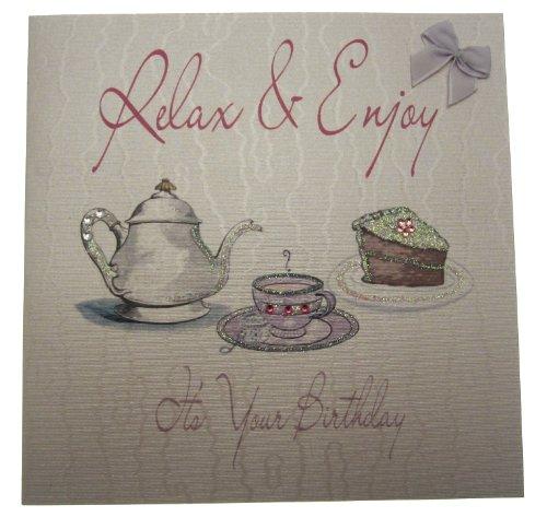 White Cotton Cards wenskaart relaxen en genieten van uw verjaardagskaart, thee en taart