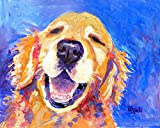 golden retriever hand signed watercolor print