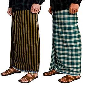 Riyashree men's cotton lungi for men free size 2 meter Combo (set of 2) MenLungi 011 019