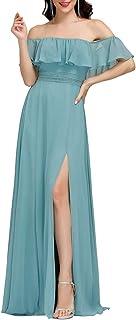 Ever-Pretty Vestidos de Fiesta Gasa Abertura Fuera del Hombro A-línea Corte Imperio Hoja de Loto para Mujer 00968