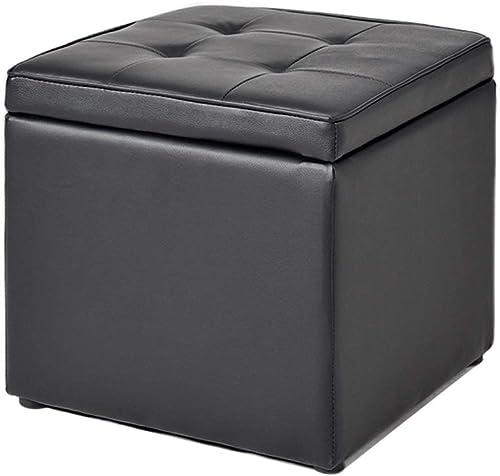Tabourets de RangeHommest en Cuir Artificiel Tabouret Confortable (Couleur   noir, Taille   40  40  40cm)
