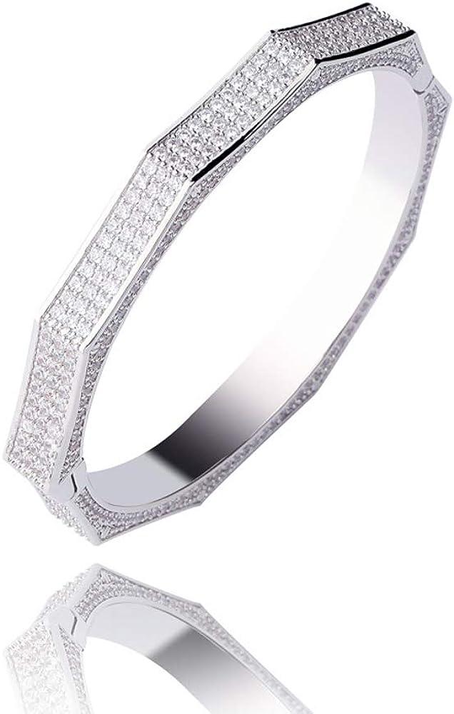 Mens Hip Hop Bangle Bracelet 18K Gold Plated Full Iced Out Zirconia Polygon Bracelets Cuff Bangle Wrist Link Bracelet Jewelry Gift for Men