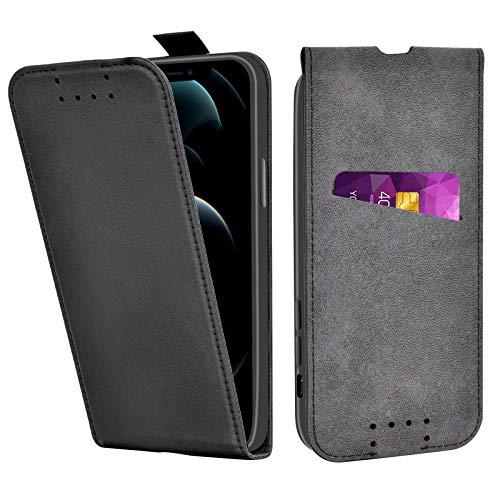 Adicase iPhone 12 Hülle Leder Tasche für iPhone 12 / iPhone 12 Pro Handyhülle Flip Hülle Schutzhülle (Schwarz)