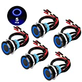 5PCS 19mm 3/4' Metal Latching Pushbutton Switch with Wiring Harness, 12V LED 1NO1NC SPST ON-OFF Switch, Waterproof 24V Pre-Wired 4 Pin Toggle Switch for 0.74' Mounting Hole, Black Shell & Blue Light