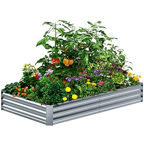 8×4×1FT Galvanized Raised Garden Bed Kit, PETNOZ...