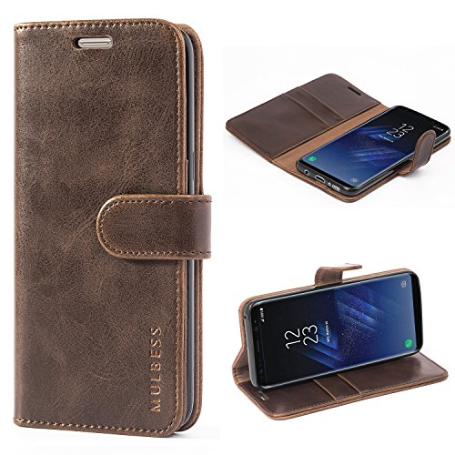Mulbess Handyhülle für Samsung Galaxy S8 Hülle, Leder Flip Hülle Schutzhülle für Samsung Galaxy S8 Tasche, Vintage Braun