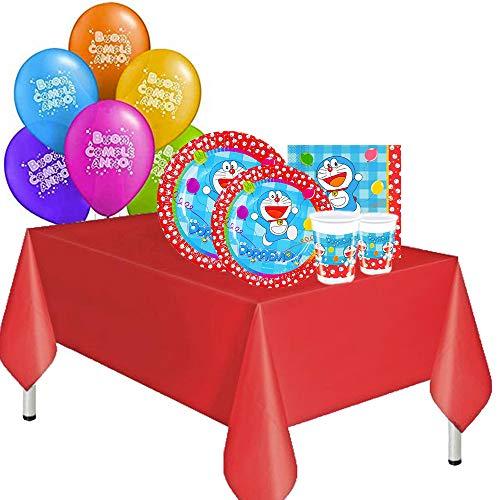 ocballoons Kit Festa Compleanno Doraemon 61pz 10 Ospiti Set Addobbi e Decorazioni 10 Piatti 10 Bicchieri 20 tovaglioli 1 Tovaglia 20 Palloncini Bambino (10 Persone)