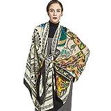 Ztweijin 100% Cabeza Cuadrada Bufandas Mujeres Elegante Dama y cálido mantón Largo Animal Print estolas pañuelo Bufanda Manta de Playa, Color