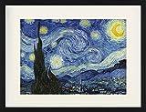 1art1 Vincent Van Gogh - Die Sternennacht, 1889 Gerahmtes Bild Mit Edlem Passepartout | Wand-Bilder | Kunstdruck Poster Im Bilderrahmen 80 x 60 cm