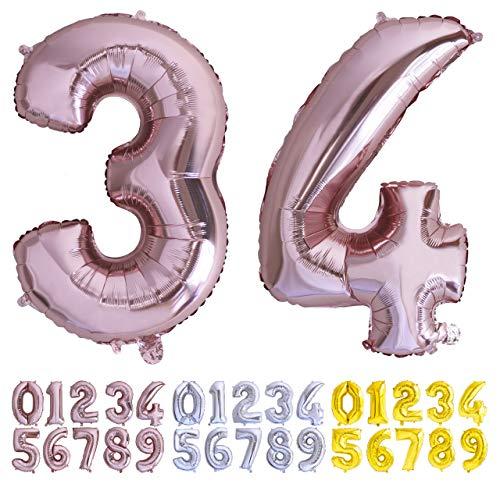 Globo numero 34 o 43 Oro Rosa. Globos Foil Gigante números 3 4 fiestas cumpleaños decoración fiesta aniversario boda tamaño grande 70 cm con accesorio para inflar aire o helio (34/43 Oro Rosa)