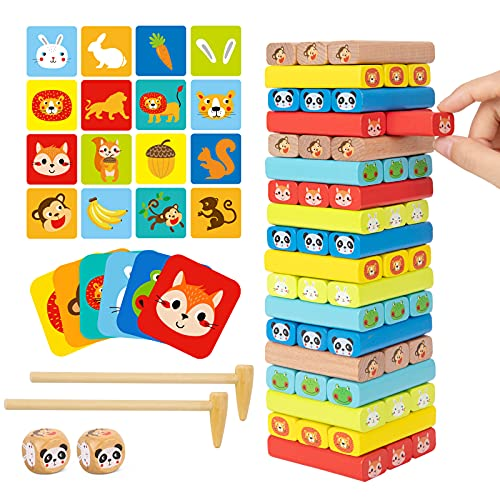 TOOKYLAND Colored Wooden Blocks Stacking Board Games Tumble Tower Games with Animal Pictures for Kids Boys Girls - 82 Pieces