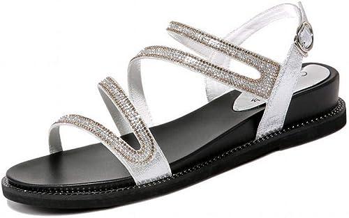 LTN Ltd - sandals étudiante en Strass Fond Plat Sandales Sandales D'EnrouleHommest Femme été Chaussures Simples Femmes Chaussures de Plage Romaine, Argent, 36  livraison gratuite