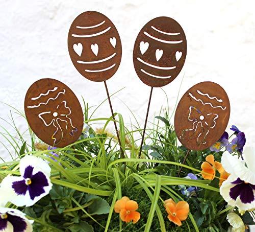 4er Set Gartenstecker Osterei Rost Design Gartendeko (Ostereier 4er Set)