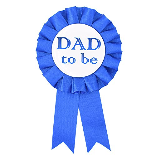 DAD to Be Tinplate Badge Pin - Baby Shower Button New Dad Gifts Gender Reveals Party Baby Boy Blue Rosette Button Baby Celebration (Royal Blue)
