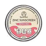 Protector Solar Natural de Zinc Cara & Deporte Suntribe - FPS 30 - Biodegradable / Reef Safe - Òxido de Zinc (Filtro UV mineral) - Muy Resistente al Agua - 3 Ingredientes - ROJO RETRO (45 g)