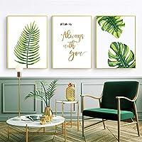 アッラーイスラム壁アート緑の葉引用絵画アートワークポスターキャンバスプリント壁アート写真モダンな部屋の装飾| 40x50cmx3-(フレームなし)