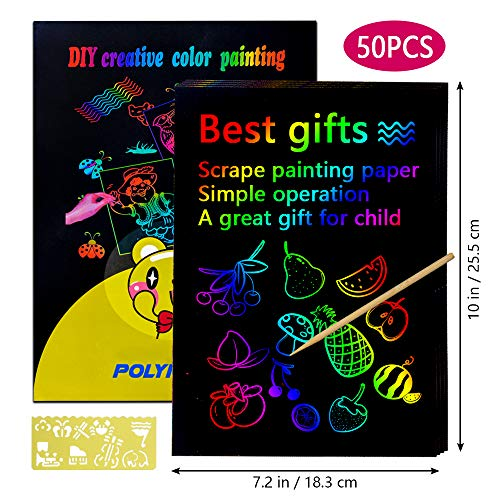 Sunnypig Scratch Art for Kids, Arts and Crafts for Kids Girls Ages 8-12 Easter Gifts for Kids Crafts for Age 3-8 Kids Boys Girls Toys for Toddlers Art Kits for Kids 6-9 Year Old Birthday Gifts