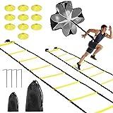 Equipo de Entrenamiento de Fútbol, Fostoy 2×6M Escalera de Velocidad Agilidad Football Kick Trainer y Conos de Disco, Escalera Entrenamiento de Fútbol con Paracaídas de Resistencia 4 Estacas de Acero