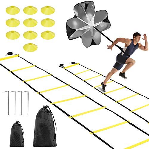 Fostoy Attrezzatura da Allenamento per Il Calcio, 2×6M Scala Agilità Scaletta per Allenamento e Coni da Allenamento, Include Il Paracadute della Resistenza, 4 Picchetti in Acciaio