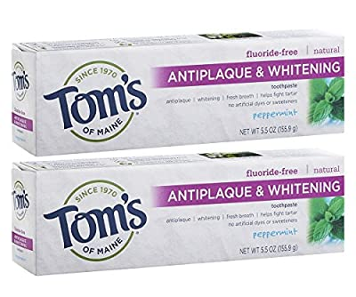 Tom's of Maine Fluoride-Free Antiplaque & Whitening Toothpaste, Whitening Toothpaste, Natural Toothpaste, Peppermint, 5.5 Ounce, 2-Pack