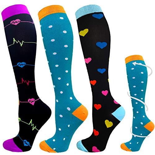 ACTINPUT 3 Pares Calcetines de compresión para Mujeres y Hombres 20-25 mmHg es el Mejor atlético, Correr,Escalar Montaña,Vuelo, Viajes, Enfermeras, Edema