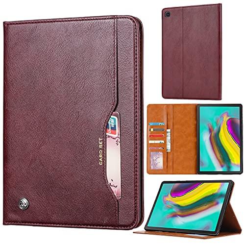 WANTONG Funda de Piel para Tablet PC Tablet Funda para Samsung Galaxy Tab A10.1 T510 / T515 (2019) Cubierta de Soporte Plegable con Cubierta automática de la Tableta de la Tableta (Color : Red Wine)