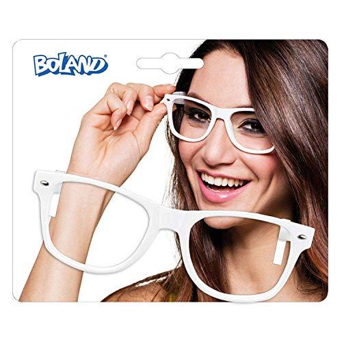 Boland 02646 - Partybrille Nerd, weiß, für Erwachsene, Spaßbrille ohne Gläser, Brille aus Kunststoff, 80er Jahre, Mottoparty, Fasching, Fastnacht, Karneval, Halloween