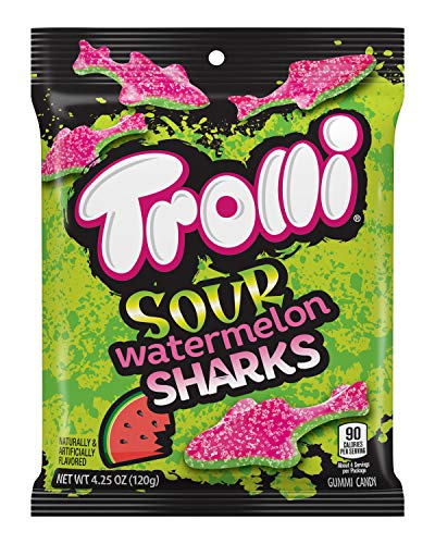 Trolli Sour Watermelon Sharks Gummy Candy, 4.25 Ounce, Pack of 12