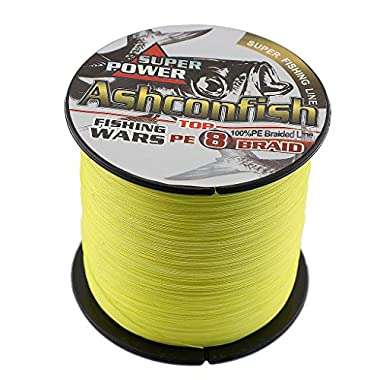 Ashconfish Braided Fishing Line-8 Strands Super Strong Fishing Wire 500M/546Yards 50LB-Abrasion Resistant Braided Lines-Incredible Superline-Zero Stretch-Superfine Diameter-Yellow