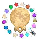 WYCY Lámpara Luna Control Tactil & Remoto Luna Lámpara Impresión 3D 16...