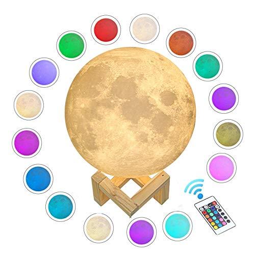 WYCY Lámpara Luna Control Tactil & Remoto Luna Lámpara Impresión 3D 16 Colores Lámpara Luna LED Carga USB y Control Remoto y Soporte,Regalos Para el Cumpleaños (8CM)