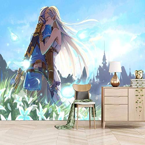Msrahves papel pintado para pared Dibujos animados lindo anime chicas pared vinilos decorativos papel fotografico 3D Fondos de pantalla Fondo Pared Sala de estar Dormitorio TV Sofá Mural Papel tapiz