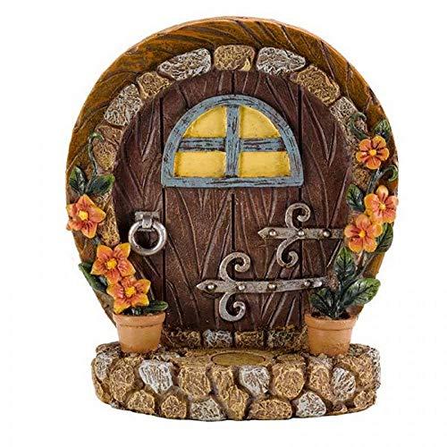 Caprichoso jardín de hadas y elfo puertas   Encantador detalle   Decoración de jardín en miniatura para exteriores   Pintado a mano (puerta marrón)