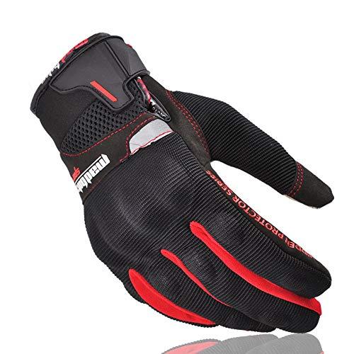 Motorrad handschuh Herren,Motorrad Handschuhe Sommer Motocross Off Road Glove Full Finger Motorrad Luvas Screen Touch Cycling Racing Guantes Motocicleta m rot