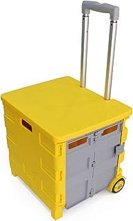 35kg Folding Shopping Trolley Storage Boot Cart Box (Yellow/Grey)