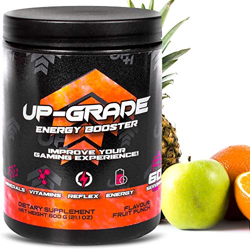 UP-GRADE - Gaming Booster , Energy Drink Pulver - Caffeine Powder for More Concentration in e-Sports - 600 g 60 Servings (Fruit Punch)