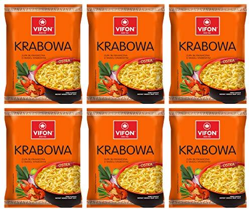 Vifon Smak Krabowy Crab Flavor Soup Instant Pho Noodle Soup Pack of 6