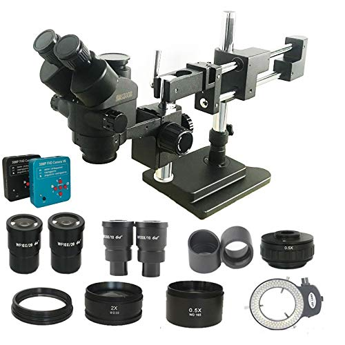 Yhtech Nuevo Modelo 3.5x-180x Microscopio Estéreo Trinocular Trinocular Trinocular Soldadura Industrial 38MP HDMI USB Microscopio Cámara Kits Teléfono (Color : Black, Magnification : 3.5X 90X)