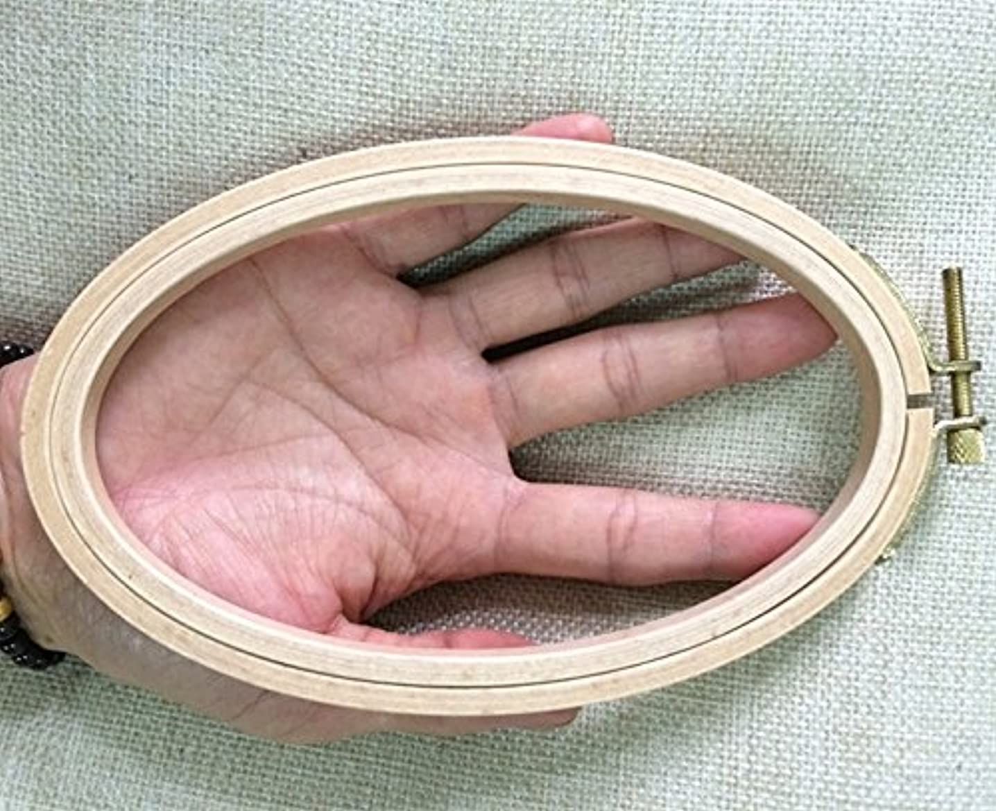 WRMHOM 6.33.95 Inch Oval Wooden Embroidery Hoop 1610cm Oval Hand Stitching Hoop - Cross Stitch Hoop - Framing Hoop - Stitchery Hoop - Craft Supply Hoop (2PCS/PACK)