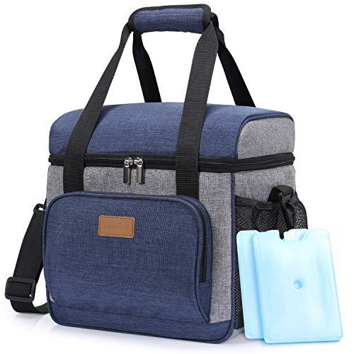 Preisvergleich Produktbild Lifewit Kühltasche Cooler Bag Kühlbox Thermo Tasche Lunchtasche isoliert faltbar für Lebensmittel unterwegs am Strand auf Autoreisen bei Arbeit Picknick Campingausflug, Dunkelblau