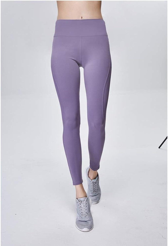 Womens Stretch Yoga Leggings Womens High WAIS Workout Leggings Yoga Pants Activewear Pants Workout Leggings (color   Purple, Size   L)